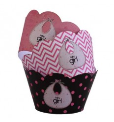 Baby shower cupcake wrappers (Pack of 12 with 3 different designs per pack)