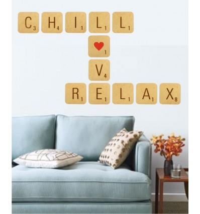 Chill, Love, Relax Giant Scrabble tiles (12 tile kit)