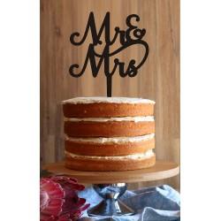 """Mr & Mrs"" Swirly Cake Topper"