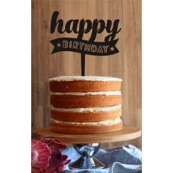 Happy Birthday Scroll Cake Topper