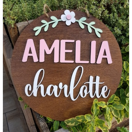 Round Name Sign with Flower and Branch